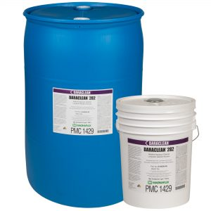Magnaflux Daraclean 282GF Moderate Alkaline Aqueous Cleaner shown in 5 and 55 gallons