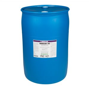 Magnaflux Daraclean 283 Alkaline Aqueous Cleaner shown in 5 and 55 gallons
